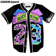 ALMOSUN Air Bel Air 23 Jersey All Over Print Baseball T-Shirt Fashion Summer Short Sleeve Street Hipster Hip Hop Tops Tee(China)