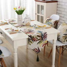 SunnyRain 1-Piece Linen Cotton Colorful Leaves Table Runner Wedding Party Table Decoration Table Runners