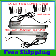 A Pair of DC 12Volt 300mm/12inches stroke mini electric linear actuator tubular motor motion 14mm/s speed 1000N=100KG load IP65