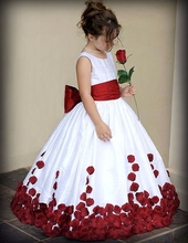 Flower Girl Dresses for Wedding With Red And White Bow Back Taffeta Ball Gown Girl Pageant Dress Vestidos De Primera Comunion