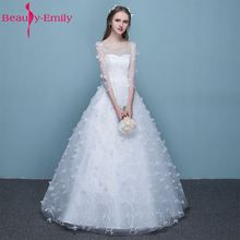 Buy Beauty-Emily Pure White Bride Wedding Dresses 2017 Simple Princess A-Line Lace Three Quarter Tulle Bridal Gowns for $49.78 in AliExpress store