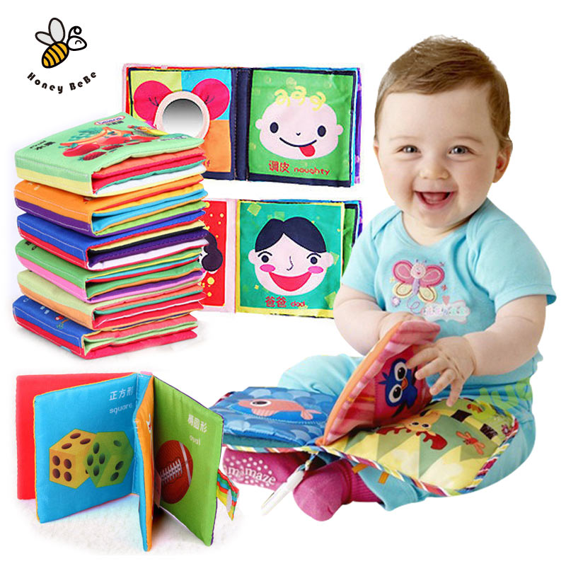 Soft Squeaky Cloth Book Baby Toy Teether  Kids Early Learning &amp; Education Animals Book Soft Baby Rattles Infant Toys<br><br>Aliexpress