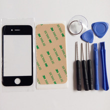 New Black 4S Front Outer Screen Glass Lens Cover Replacement Part  For iphone 4 4s Touch screen & 3M sticker & Free Tools