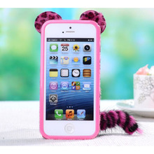 For samsungS3 9300 mobile phone case Plush leopard phone shell fox tail protective cover for SAMSUNG S4 9500 NOTE2 7100 NOTE3