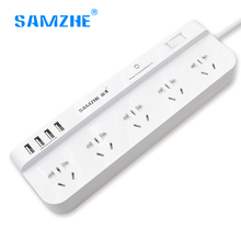 Samzhe Smart Power Strip Wall Socket With 4 Usb Port 1.8m/3m Extension Cable Usb Socket Switch Adapter EU Plug Smart Home Strip(China)