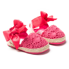 Bow Dress Knitting Shoes Summer Infant Toddler Princess First Walkers Newborn Baby Girls Kid Prewalker Soft Soled Shoes(China)