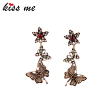 KISS ME Dangling Butterfly Earrings for Women Now Trending Retro Accessories 2016 Women Earrings