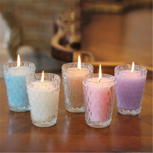 Aromathorapy Decorative Candles Glass Cup Znicz Scented Candle Yankee Wax Gift Candles Making Home Decor Kerzenleuchter DDZ33(China)