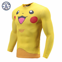 Autumn Men Pikachu Meowth Pokemon Pocket Monst T shirts Long Sleeve 3D Compression Shirt Fitness Tight T Shirt Homme