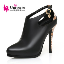 Universe Women Shoe Genuine Leather SEXY Pump Super High Heels Thin Heel C022(China)