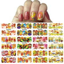 12 Designs/Sets Autumn Maple Leaf Nail Sticker Decals Beauty DIY Full Wraps Foils Watermark Nail Art Tattoos A1201-1212(China)