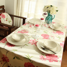 1pcs Pink Flower Pattern Cotton linen tablecloth Wedding Party Table cloth Cover Home decor decoration Tablecloths 44034(China)