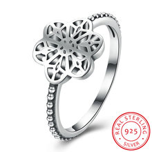 UFOORO new design S925 silver fashion jewelry flower floral daisy lace ring for women wedding engagement ring fine jewelry
