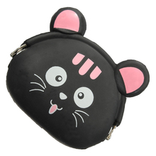 FGGS-Women Girls Wallet Kawaii Cute Cartoon Animal Silicone Jelly Coin Bag Purse Kids Gift Black cat(China)