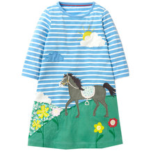 Baby Girl Clothes Long Sleeve Girls Dress with Animal Appliques 100% Cotton Casual Tunic Elsa Dress Kids Clothes Vestidos(China)