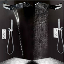 Buy Thermostatic Shower Faucet Sets Rainfall Waterfall Shower Head Hand Shower Chrome Polished for $141.70 in AliExpress store