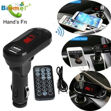 Binmer High Quality Bluetooth Wireless FM Transmitter MP3 Player Handsfree Car Kit USB TF SD Remote Drop Shipping(China)