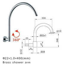 "400mm G1/2"" Round Chrome Shower Head Extension Wall Mounted Adjustable Shower Arm 04-083(China)"