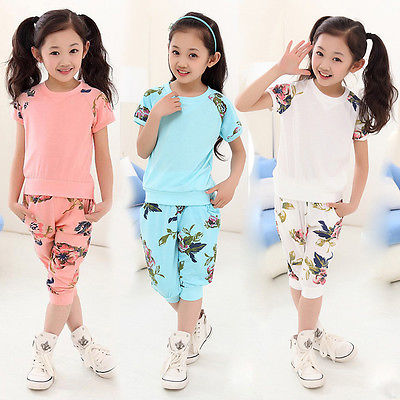 2017 Fashion 2PCS Girls Kid Short Sleeve Summer T-shirt Top Blouse Shirts Pants Outfit 6-11Y Lovely Children Clothing Sets<br><br>Aliexpress