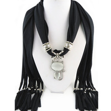 Hot Style Winter Women Crystals Cat Pendant Scarf Polyester Solid Scarf Neckerchief(China)