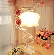 Dimmable Desk Lamps with colorful flowers,Princess style table lamp, For bedroom Study,E27,50*30*18CM,Bulb included(China)