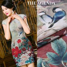 The opera peony digital printing silk cheongsam dress fabric silk linen wholesale