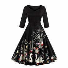S-4XL Vintage Audrey Hepburn 50s Skater Dress Swan Print Summer 2017 Party Dresses With Belt High Waist Plus Size D76602