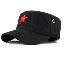 Cheap price !2017 new fashion Unisex Hot-selling Red Star Hat General Summer Army Hat Cadet Cap 2Colors(China)