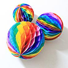 4size/lot Creative Colorful Honeycomb Ball Flower Paper Lantern for Garland Wedding Decoration Birthday Party Supplies Kids Gift(China)