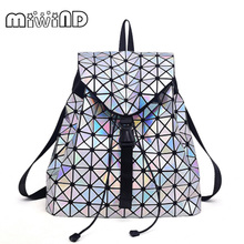Women BaoBao Drawstring Backpack Diamond Lattice Geometry Quilted Ladies Backpack Sac Bag For Teenage girl Bao Bao School Bags