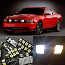 9pcs Xenon White Canbus LED Light Bulbs Interior Package Kit For Ford Mustang 2010-2014 Map Dome License Plate Light car Styling