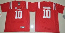 Nike Youth Ole Miss Rebels Eli Manning 10 College Alumni Ice Hockey Jerseys - Red Size S,M,L,XL(China)