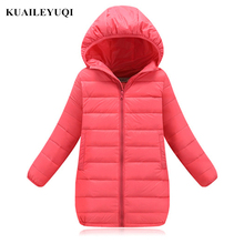 New Brand 2017 Fashion Children's Down Jackets Coats Solid Cotton-padded Girls Warm Winter Children Outerwear 3-12Y baby clothes(China)