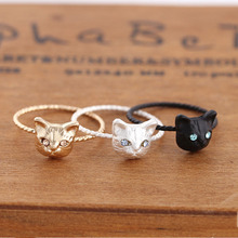 1Pcs New Gold color Cute Cat Head Finger Ring Fashion Jewelry Wholesale New Design