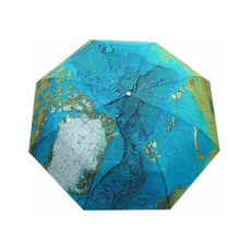 Portable World Map Pattern Automatic 3-Folding Umbrella Windproof Anti-UV Sun /Rain Umbrella