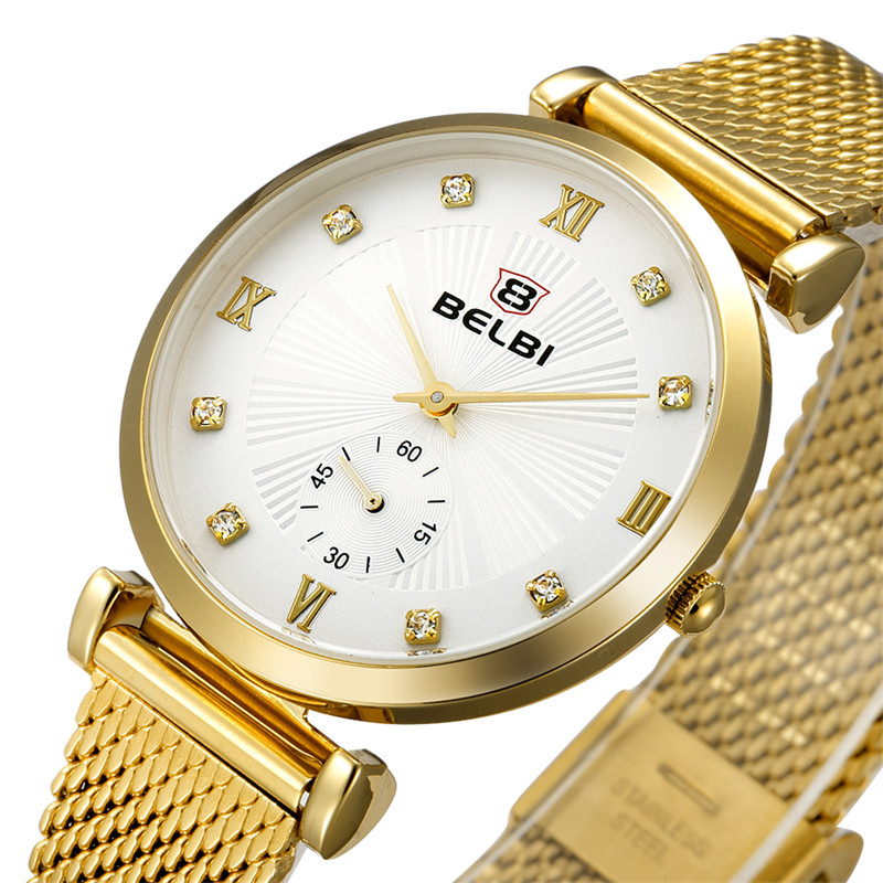 Hodinky Women Watches Simple Diamond Dial Ladies Wristwatches Fashion Dress Thin Steel Watch Band China Famous Watch Brand BELBI<br><br>Aliexpress