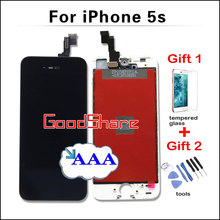 With Free Gifts Top AAA LCD Touch Screen for iPhone 5s Front Glass Display Digitizer Assembly Replacement Black/White Fast Ship