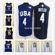 #4 Jimmy Butler #9 Demar DeRozan #11 Klay Thompson #10 Kyrie Irving #15 Carmelo Anthony 2016 Team usa Basketball Jersey S-XXL(China)