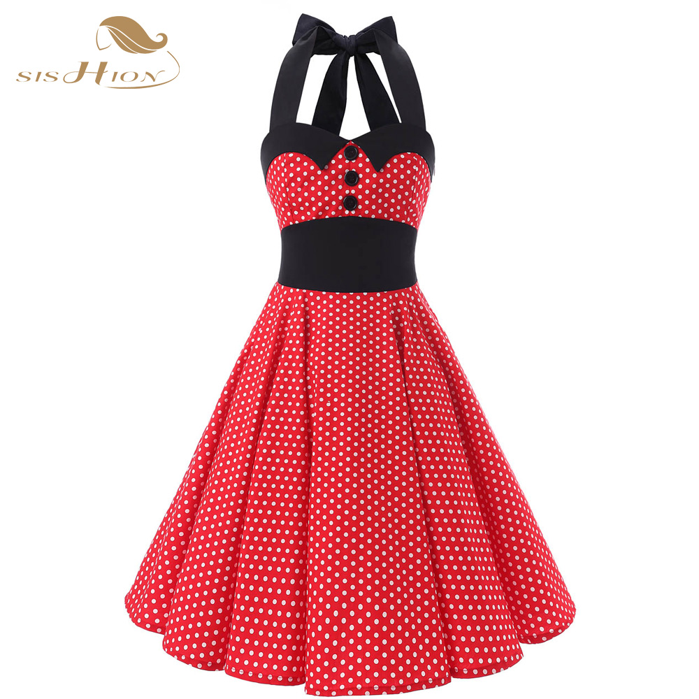 SISHION Halter Design Red Dress Short Cotton Vintage Plus Size 50s 60s Rockabilly Swing Popular Women Summer Dresses VD0145(China (Mainland))