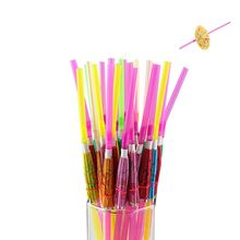 50pcs/lot Fireworks Umbrella Multicolor Plastic Fruit Cocktail Drinking Straw BBQ Hawaiian Party Theme Decoration Party Supplies