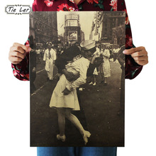 TIE LER Victory Kiss the Classic Kraft Paper Poster Mural Home Decoration Wall Sticker