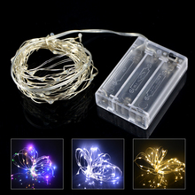2M 20 LED Copper Wire String light Battery Powered LED Strip For Fairy Christmas Tree Holiday Party Decoration Night lighting