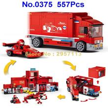Sluban 0375 557pcs 2in1 Technic F1 Formula Racing Car Transport Truck building block Brick Toy