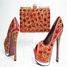 G30 Red Top Fashion Crystal Woman High Heels Matching Purse Luxury Design Wedding Shoes And Bag Set Hot Sale
