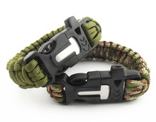 Fashion Outdoor Camping Paracord Bracelet Rescue Parachute Cord Wristband Climbing Emergency Rope Flint Scraper Whistle
