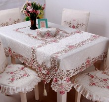 2016 New High Quality Polyester pink beige Embroidery Tablecloth Embroidered Floral Table Cloth Covers Runners Lace Edge B30