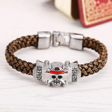 J Store Classic Anime One Piece Luffy skull Bracelets for Men Brown Weave Leather Bracelet Friendship Bangles(China)