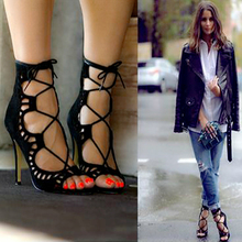 Women Pumps Brand Designer High Heels Cut Outs Lace Up Open Toe Party Shoes Woman Gladiator Sandals Women Ladies Zapatos Mujer(China)