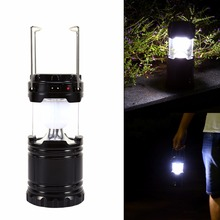 Portable 6 LED Hand Lamp Light Solar Powered Camping Tent Lantern Lights Rechargeable Emergency Lighting With Battery(China)