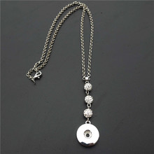 10pcs/lot Fashion Metal 18mm Snap Buttons Rhinestone Crystal Shamballa Necklace Jewelry(China)